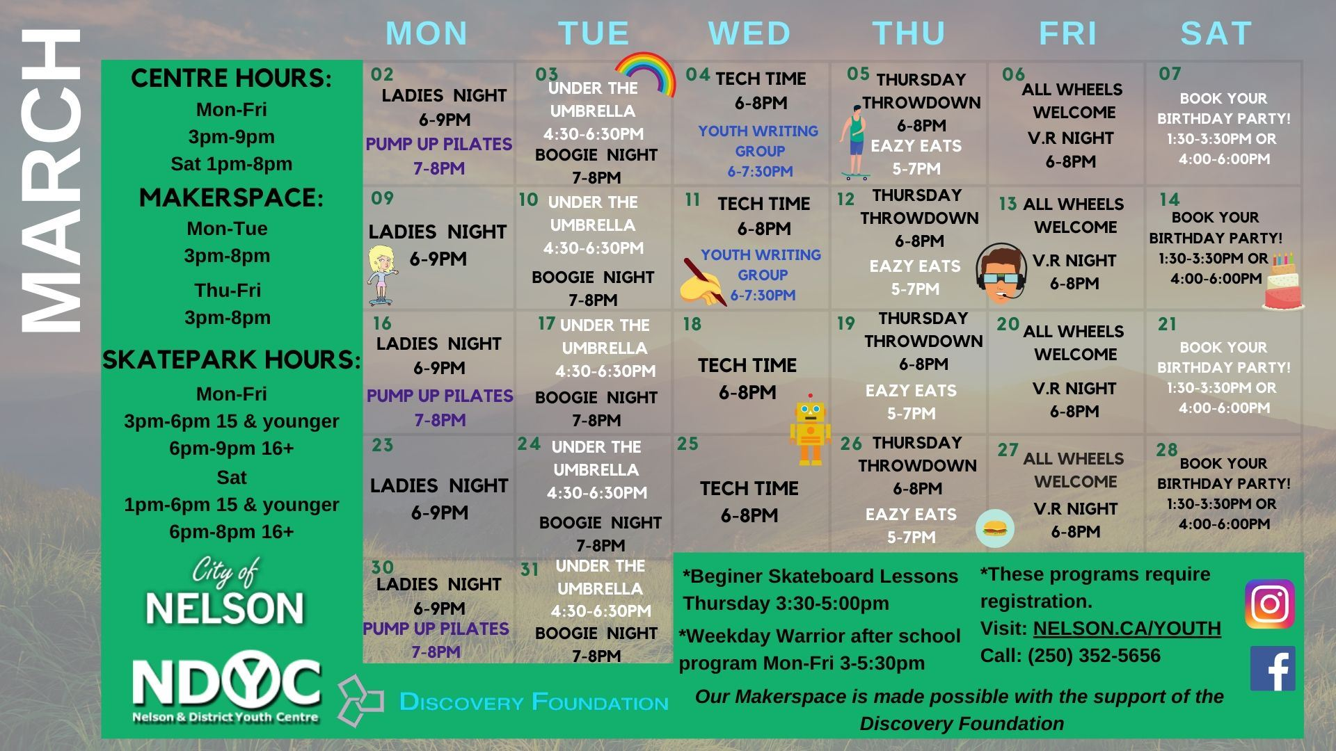Youth Centre March Calendar