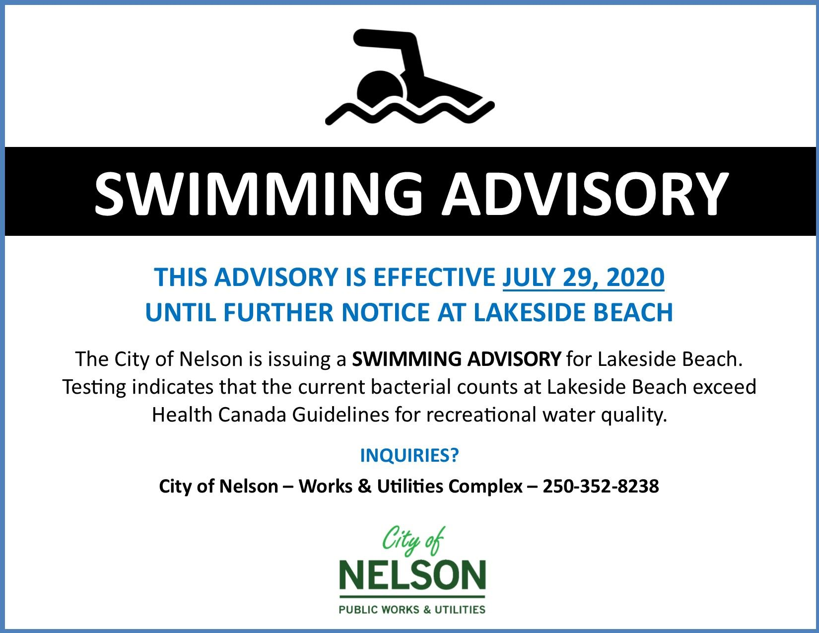 Swimming Advisory July 2020