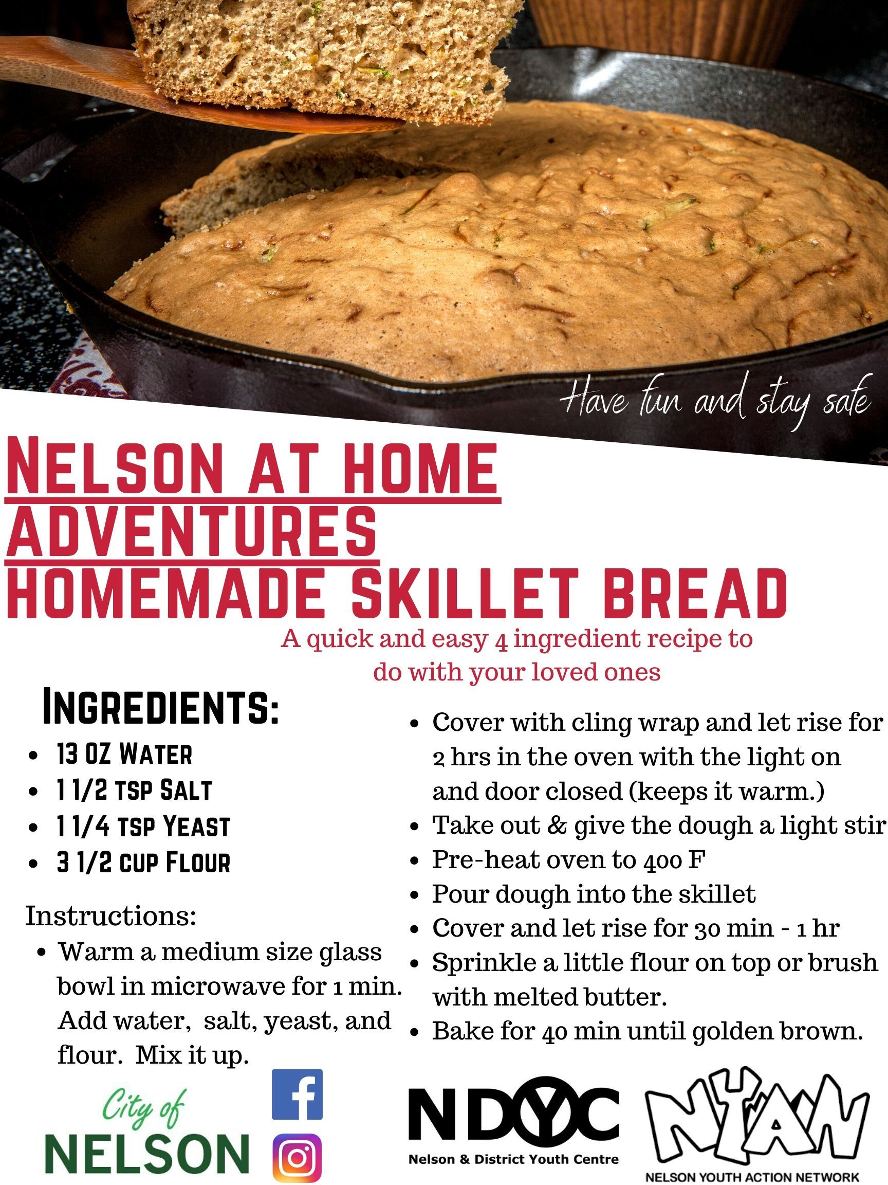 Nelson at home homemade skillet bread Opens in new window